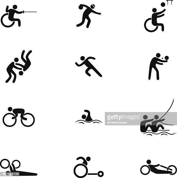 physical disability sports icon set - disability stock illustrations, clip art, cartoons, & icons