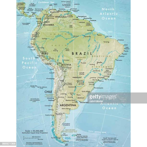 physische karte von südamerika - peru stock-grafiken, -clipart, -cartoons und -symbole