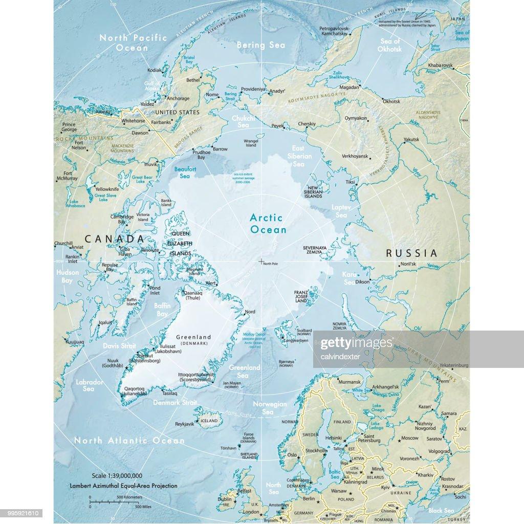 北極地域の物理的な地図 : ストックイラストレーション