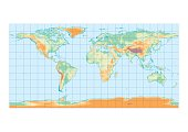 Physical map of the world graticule