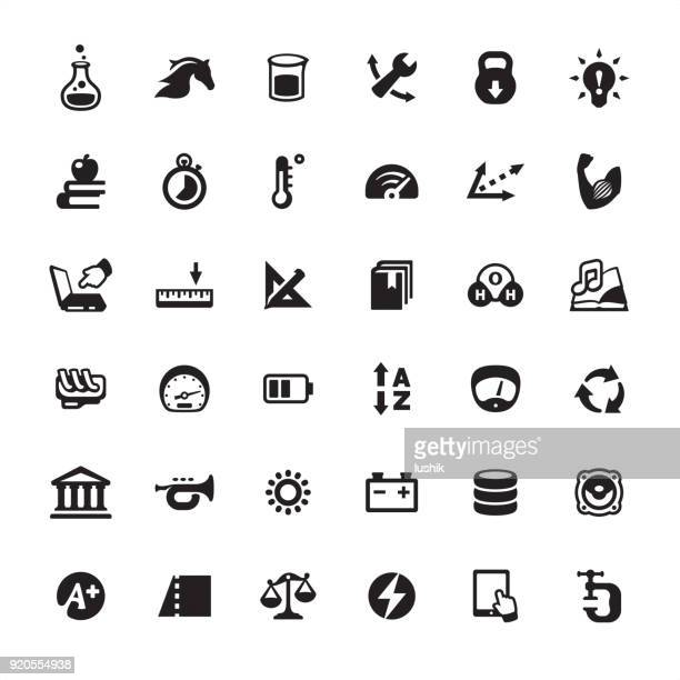 physical quantity and unit converter - icons set - meter unit of length stock illustrations