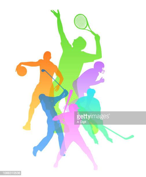 physical sports variety - tennis player stock illustrations