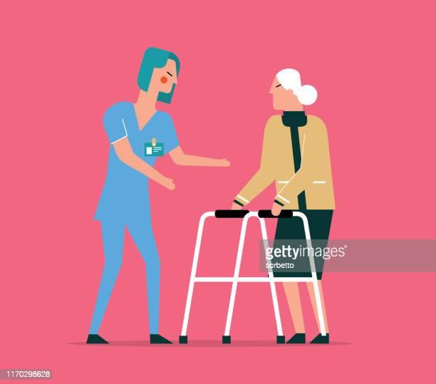 ilustraciones, imágenes clip art, dibujos animados e iconos de stock de stock físico - mujer vieja - asistente de enfermera