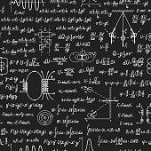 Physical vector seamless pattern on blackboard