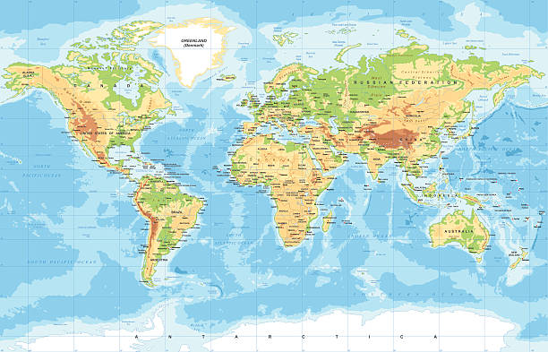 Free world map continent images pictures and royalty free stock physical world map gumiabroncs Image collections