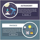 physics and astronomy banners. concept of scientific equipment, work space
