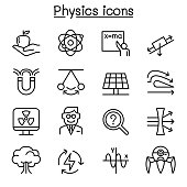 Physics icon set in thin line style