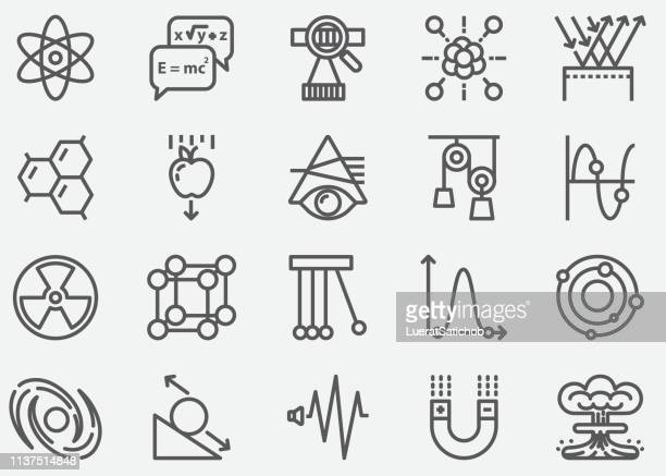 physics line icons - physics stock illustrations