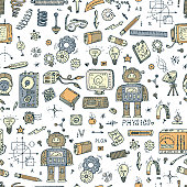 Physics. Science seamless pattern. Robot, Measuring equipment, instrumentation and elements