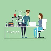 Physics Scientist working in laboratory. Male and female.