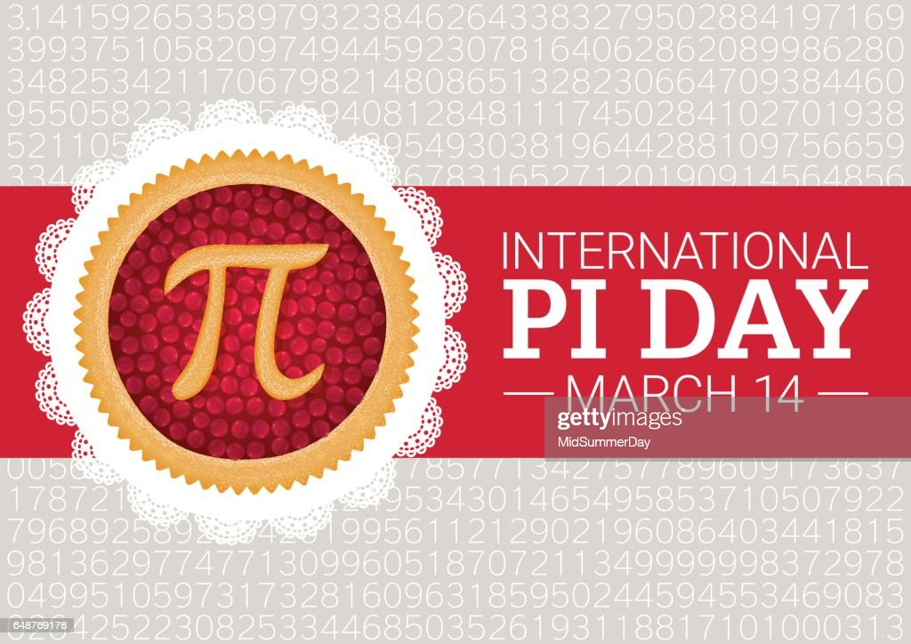 Pi Day vector background. Baked cherry pie with Pi Symbol and ribbon. Mathematical constant, irrational number