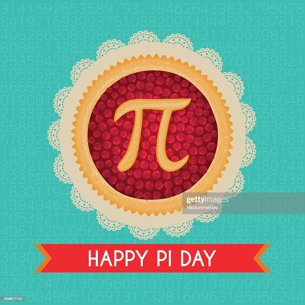Pi Day vector background. Baked cherry pie with Pi Symbol