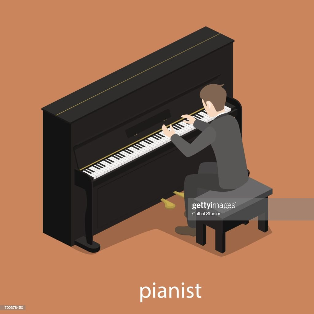 Pianist solo male piano accompaniment flat 3d web isometric infographic concept vector
