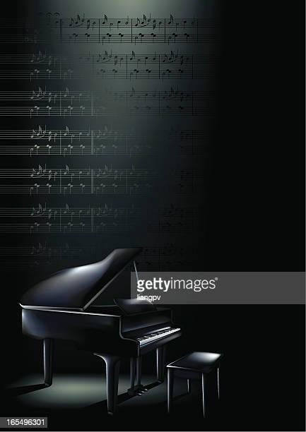 ilustraciones, imágenes clip art, dibujos animados e iconos de stock de piano vertical blues - tecla de piano