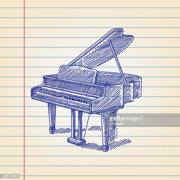 piano drawing on lined paper - piano stock illustrations, clip art, cartoons, & icons