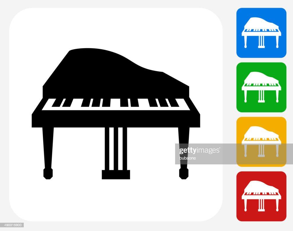 Piano Icon Flat Graphic Design Vector Art