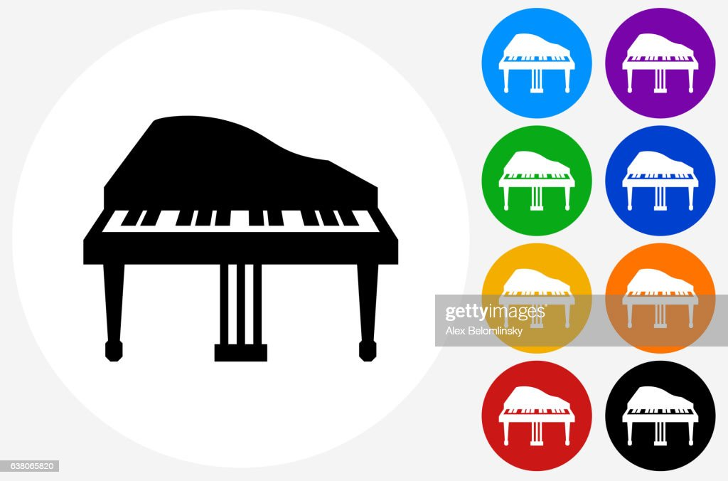 Piano Icon on Flat Color Circle Buttons