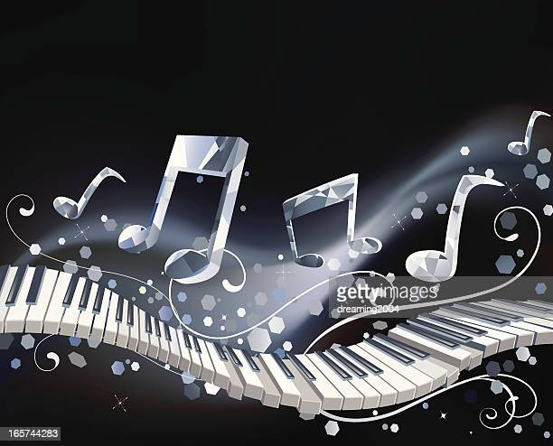 ilustraciones, imágenes clip art, dibujos animados e iconos de stock de música de cristal - tecla de piano