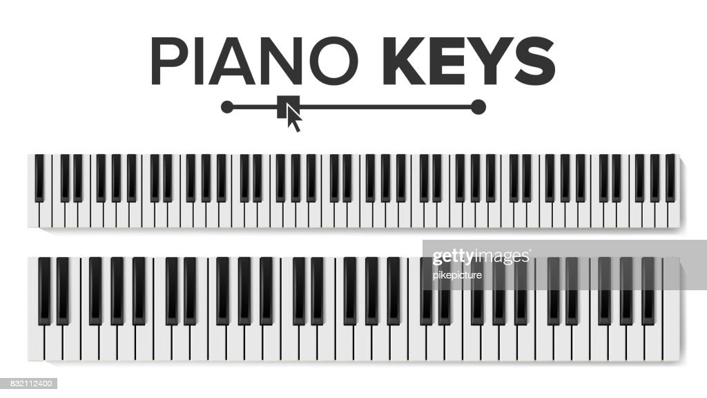 Piano Keyboards Vector. Isolated Illustration. Top View Keyboard Pad