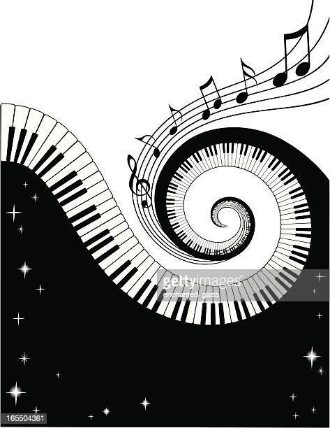 ilustraciones, imágenes clip art, dibujos animados e iconos de stock de llaves y notas de piano - tecla de piano