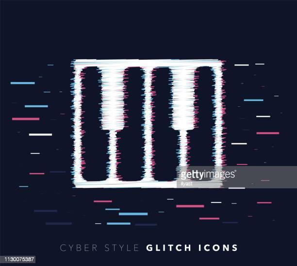 Piano Keys Glitch Effect Vector Icon Illustration