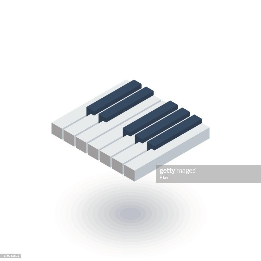 Piano keys isometric flat icon. 3d vector