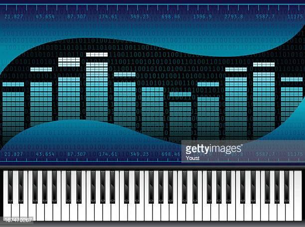 stockillustraties, clipart, cartoons en iconen met piano music at digital sound equalizer - oscilloscoop