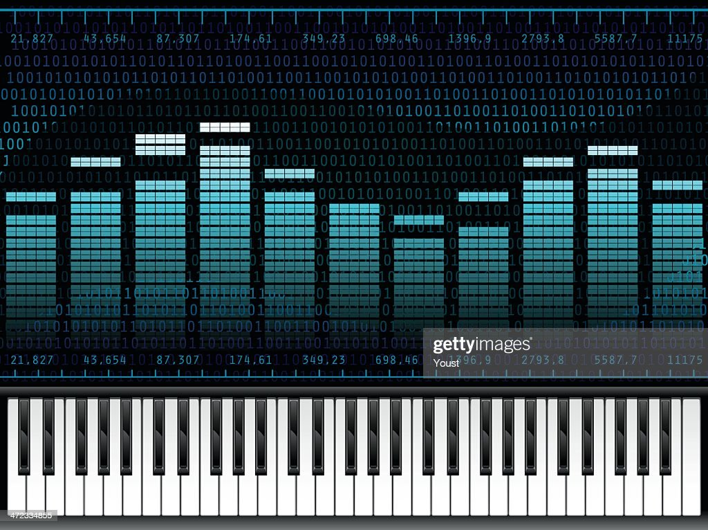 Piano Music At Digital Sound Equalizer stock illustration - Getty Images