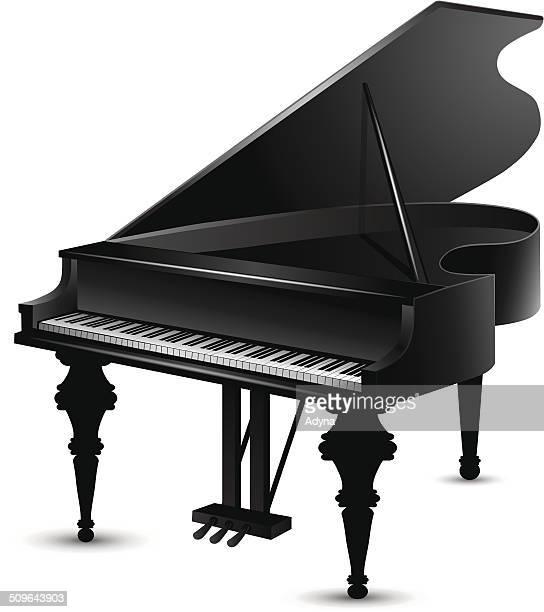 Illustrations et dessins anim s de piano queue getty - Coloriage piano ...