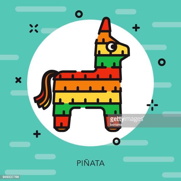 piñata open outline cinco de mayo icon - pinata stock illustrations