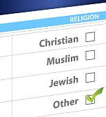 pick your religion blue survey illustration design