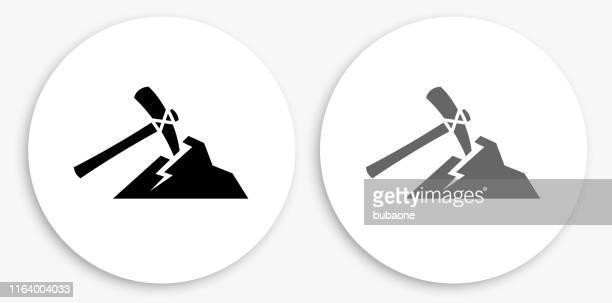 ピカックスマイニング黒と白のラウンドアイコン - 鉱業点のイラスト素材/クリップアート素材/マンガ素材/アイコン素材