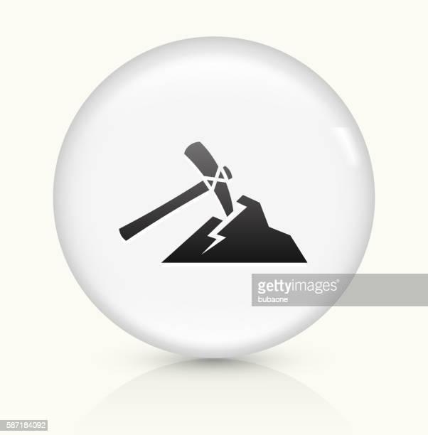 Pickaxe Mining icon on white round vector button