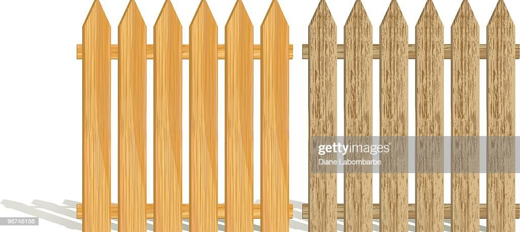 Picket Fence Sections - Set of Two Different Woodgrain Colors