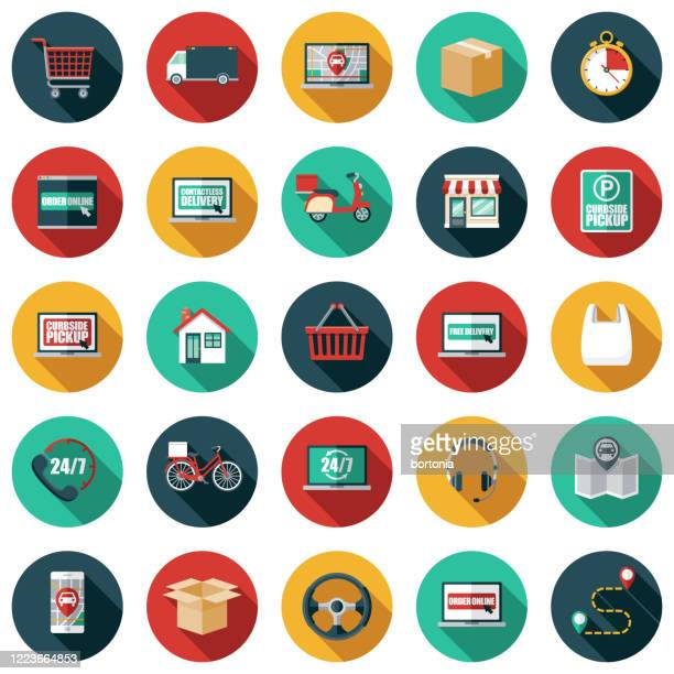 pickup and delivery icon set - curbside pickup stock illustrations