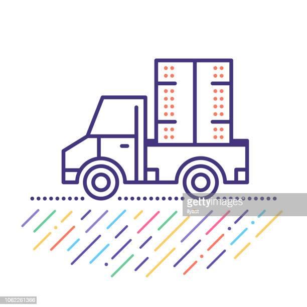 pickup-truck shipping line icon illustration - beladen stock-grafiken, -clipart, -cartoons und -symbole
