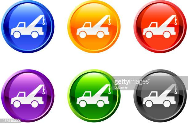 pickup truck vector icon set on round shiny buttons