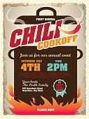 Picnic and barbecue chili cookoff invitation design template