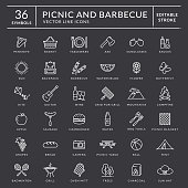 Picnic and barbecue outline icons. Editable stroke.
