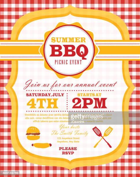 ピクニックおよびバーベキューパーティー、赤とオレンジ色の招待状のデザインテンプレート - ポットラック点のイラスト素材/クリップアート素材/マンガ素材/アイコン素材