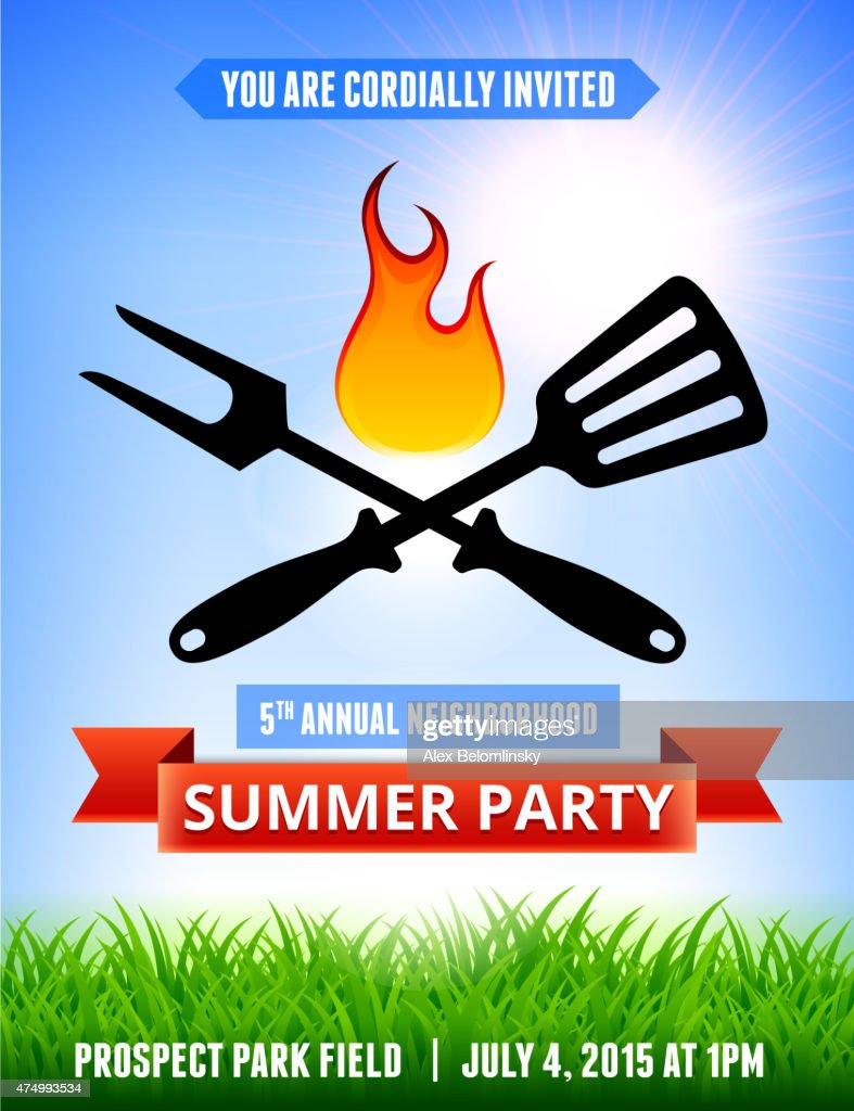 picnic and barbecue summer party invitation with blue sky backgr