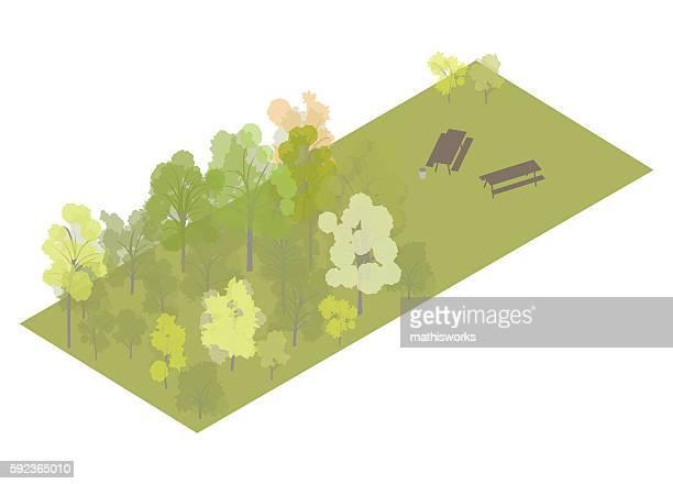 Picnic area isometric illustration