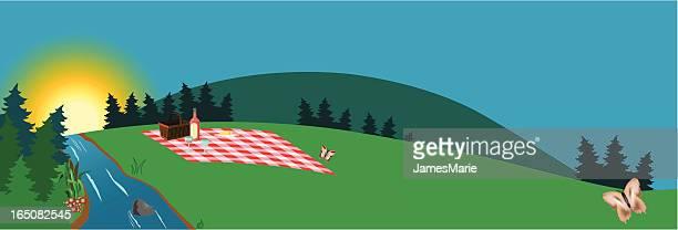 picnic at sunset - picnic blanket stock illustrations, clip art, cartoons, & icons