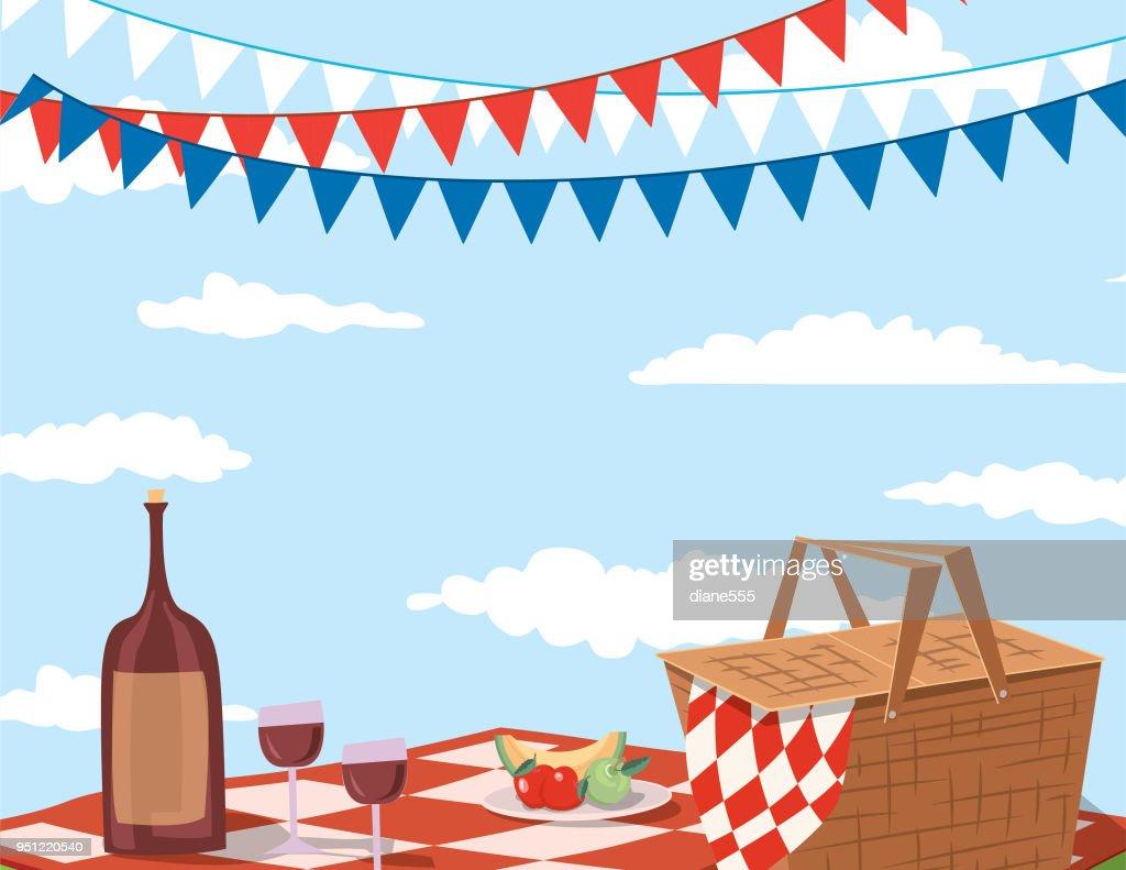 ピクニック バック グラウンドの招待状のテンプレート ベクトルアート