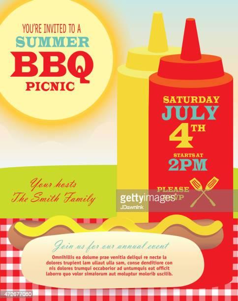 picnic bbq invitation design template ketchup and mustard bottles hotdog - ketchup stock illustrations, clip art, cartoons, & icons