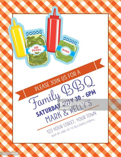 picnic bbq invitation template with condiments - ketchup stock illustrations, clip art, cartoons, & icons