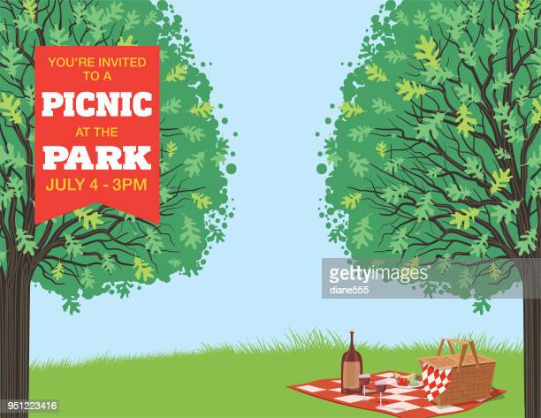 picnic cartoon with nature and trees - picnic stock illustrations