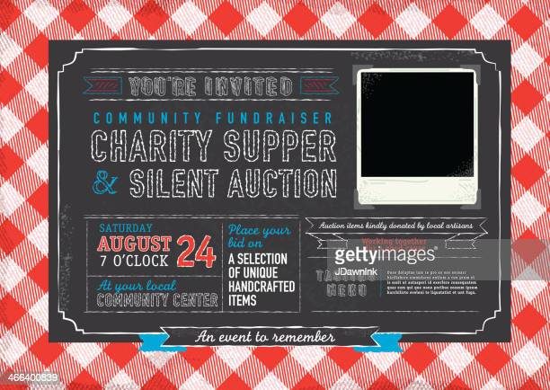 picnic charity supper invitation design template - tablecloth stock illustrations, clip art, cartoons, & icons