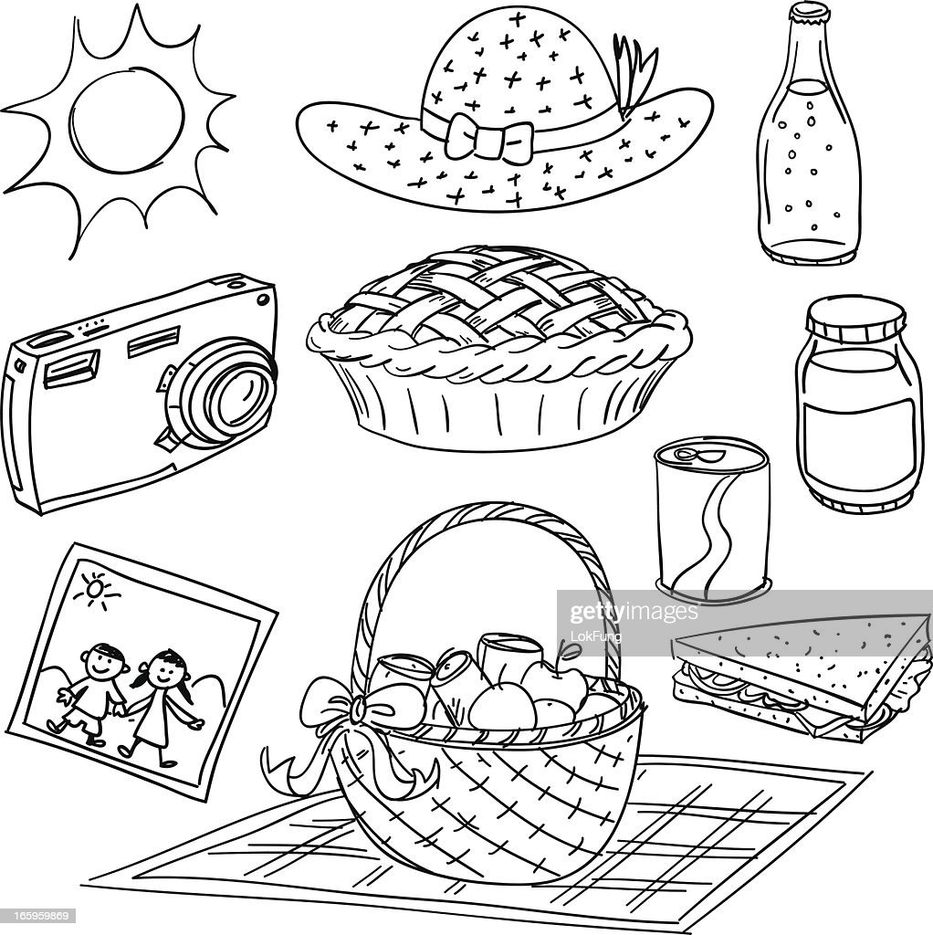 Picnic elements illustration in black and white : stock illustration