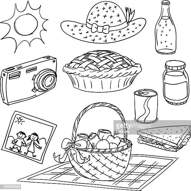 picnic elements illustration in black and white - savoury pie stock illustrations